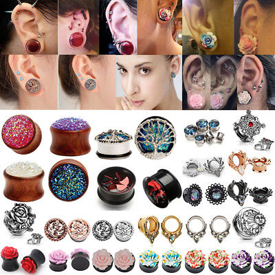 1 Pair Stretcher Tunnels Ear Piercing Plug Surgical Steel Body Jewellery 4-25mm