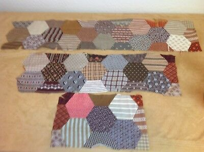 Three Antique Patchwork Quilt Pieces, Hand Sewn, Early Calicos, Brown