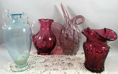 Lot of 4 Antique Colored Glass Pitchers Urns Cranberry Amethyst Opalescent Blue