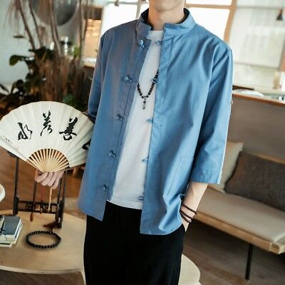 Cool Mens Japanese Cotton Linen Coat Jacket Loose Kungfu Shirt Buttons Tops  Size