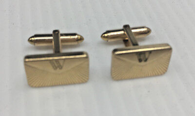 Mens Vintage Cufflinks Cuff Links #18 Envelope Goldtone Gold Tone W Kreisler USA