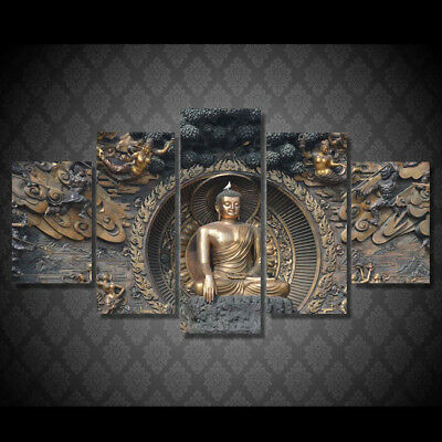 5PCS Buddha Modern Canvas Pictures Wall Art Decor Painting Posters Statue Prints