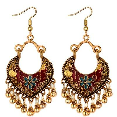 Vintage Drop Tassel Long Earrings Women Bohemian Enamel Flower Heart Earrings