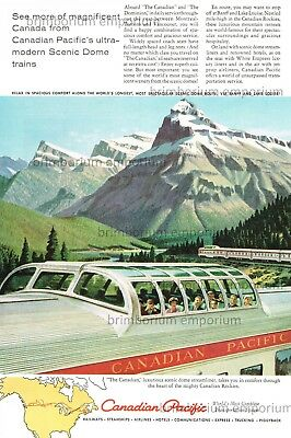 """Canadian Pacific """"THE CANADIAN"""" SCENIC DOME STREAMLINER Original Anzeige v. 1959"""