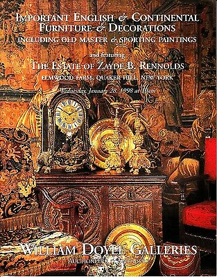 William Doyle Galleries Zayde B Rennolds Furniture  January 1998 Auction Catalog