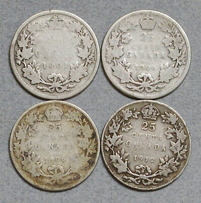 CANADA 25 Cents 1901,1903,1906,1912 - Lot of 4 Old Silver Coins, No Reserve!