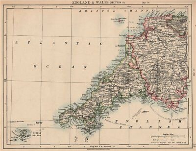 SOUTH WEST ENGLAND. Devon Cornwall Scilly Isles. JOHNSTON 1906 old antique map