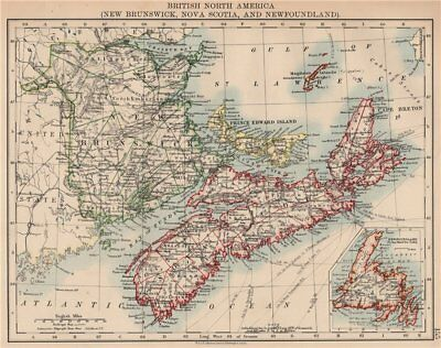 CANADA MARITIME PROVINCES. New Brunswick Nova Scotia Newfoundland 1906 old map