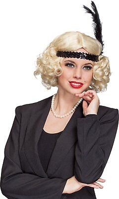 Ladies Blonde Curly Flapper 1920s Bob Wig Fancy Dress Costume Accessory