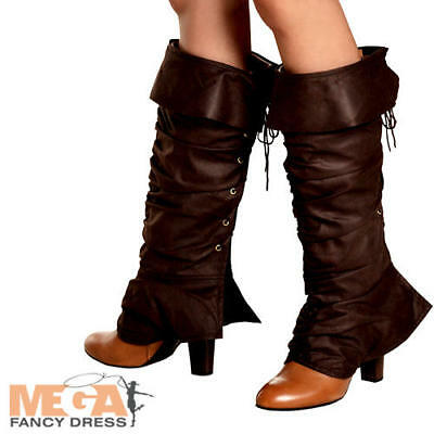 Boot Top Ladies Fancy Dress Pirate Fairy Tale Womens Adults Costume Shoe Covers