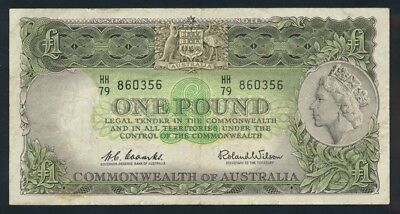 "Australia: 1961 LAST ISSUE QEII £1 ""Reserve Bank"" Title. NEAR VF - Cat VF $55"