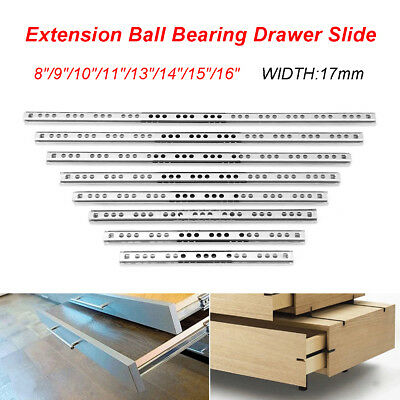 "1 Pair 17mm Ball Bearing Drawer Slides Side Mount Full Extension Slide 8""-16"""