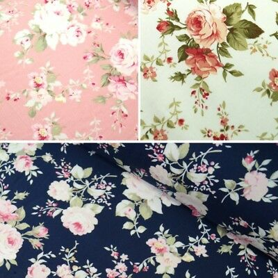 100% Cotton Poplin Fabric by Fabric Freedom Floral Flower Rose Shropshire Lad