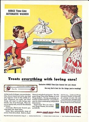 1955 Norge Time Line Automatic Washer Ad Treats Everything