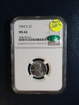 1943 S Lincoln Wheat Cent NGC MS66 CAC HI GRADE STEEL 1C Coin Starts At 99 Cents