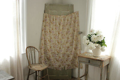 Antique French fabric SHEER art Nouveau light weight cotton roller print floral