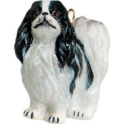 Japanese Chin or Spaniel Standing Dog Polish Glass Christmas Ornament Decoration