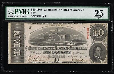 Affordable Genuine Csa T-59 1863 Confederate $10 Note Pmg 25 Very Fine Pp-F