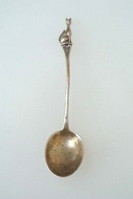 Antique Full Figural KITTY CAT Birmingham England Sterling Silver Souvenir Spoon
