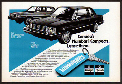 1984 DODGE Aries Vintage Original SMALL Print AD - LeaseAbility PLYMOUTH Reliant