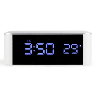 NEW Digital Touch LED Alarm Clock Thermometer Mirror Nightlight Table Desk Lamp