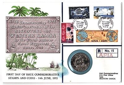2 WESTERN SOMOA PNC Dollars 1972+1974 SHIP+BOXING Games 8 Stamps Cancelled PpdUS