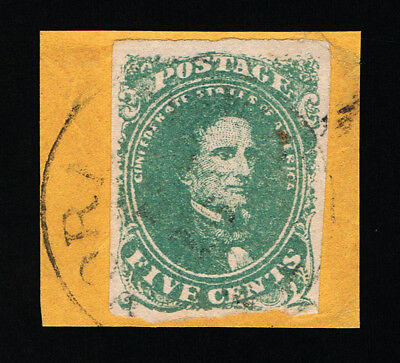 Genuine Confederate Csa Scott #1 Stone #1 Used Green 5¢ Tied With Town Cancel
