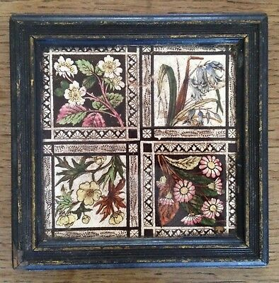 Antique Arts and Crafts Victorian Tile - Wild Flowers, Wood Frame, Tea Pot Stand