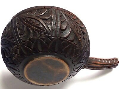 antique carved treen handled bowl scoop bailer woodenware ethnic folk art wood