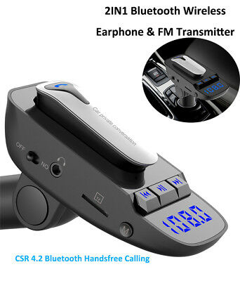 Earbud Headset+FMTransmitter+USB Car Charger+MP3 Player for Car Driving Business