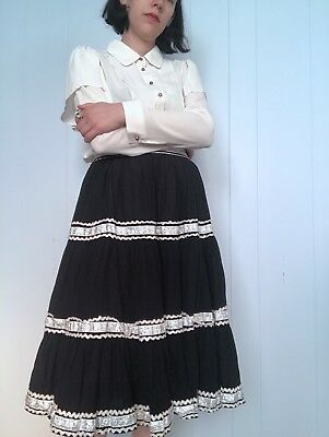 50's Black Circle Skirt Western Square Dance Rockabilly Small S