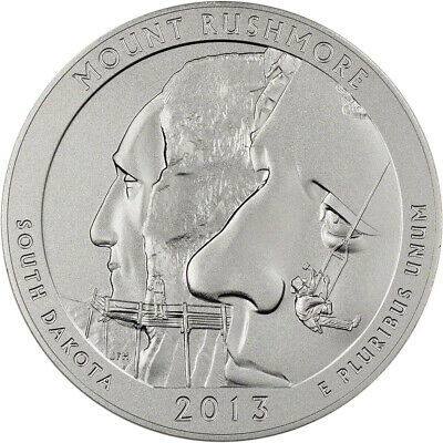 2013-P US America the Beautiful Five Ounce Silver Uncirculated Coin Mt. Rushmore