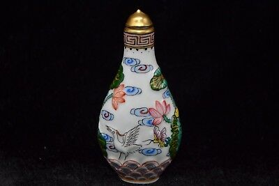 Chinese Old antique Vintage Porcelain relief lotus crane sea rare Snuff Bottle