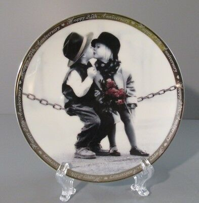 """1997 Pretty as a Picture """"With Love and Kisses"""" Happy 25th Anniversary Plate"""