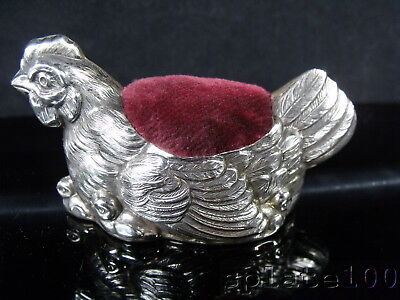 Superb Quality 925 Sterling Silver Figural Hen And Chicks Pin Cushion