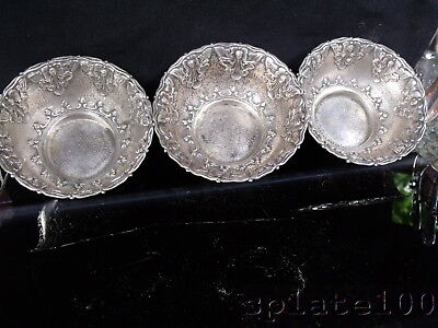 Lot 3 Kkk 800 Yogya Silver Indonesia Lotus Flower Bowls 232 Grams Total