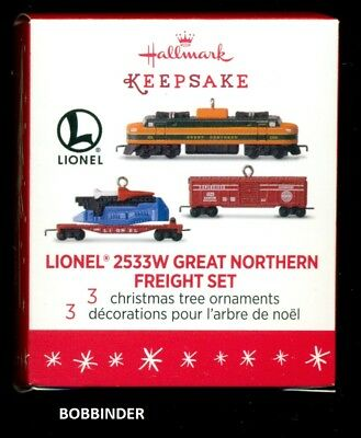 Hallmark 2016 Lionel 2533W Great Northern Freight 3 PIECE miniature Set NIB
