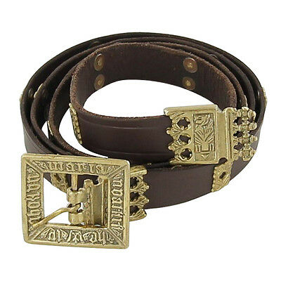Renaissance Lord Knights Quatrefoil Medieval Handmade Leather Belt with Brass