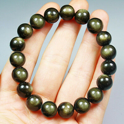 106CT 100% Natural Mexican Golden Obsidian Round Beads Bracelet Chain BGO253