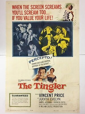 The Tingler Classic Horror Vincent Price Original Movie Poster One=Sheet 1959