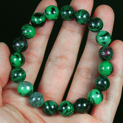 166CT 100% Natural Red Green Bi Color Ruby In Zoisite Beads Bracelet BRG270