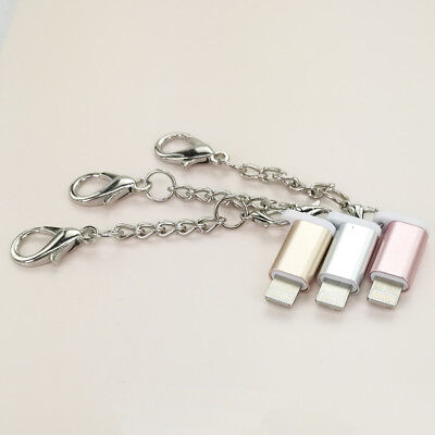 2pcs Micro USB to Lightning with Keychain 8 Pin Adapter Converter For iPhone US