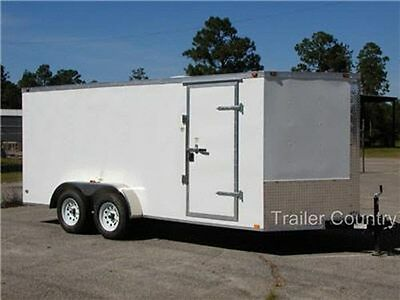 NEW 2018 7x16 7 x 16 V Nose Enclosed Cargo Trailer w/ Ramp