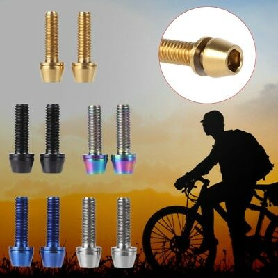Titanium Alloy 2pcs Bicycle Screw With Washer Spacer M5x16mm Bolt For Bike Stem