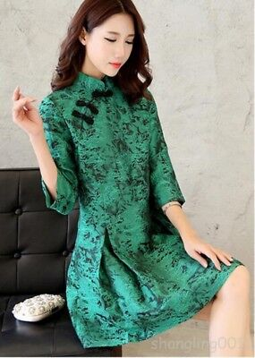 Ladies Chinese Style Floral cheongsam embroidery A Dress Mid Calf Prom Party Top