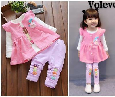 3pcs Spring toddler Baby girls clothes cotton waistcoat+Tee +pants kids outfits
