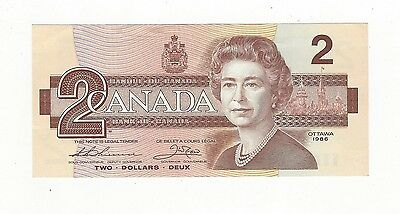 **1986**Canada $2 Note, Thiessen/Crow SN #AUL 9135067  BC-55b