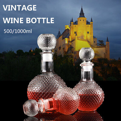 500ml Retro Decanter Glass Liquor Whiskey Crystal Bottle Wine Stopper Scotch AU