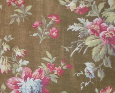 BEAUTIFUL FRAGMENT 19th CENTURY FRENCH COTTON, FLOWERS, MORNING GLORY
