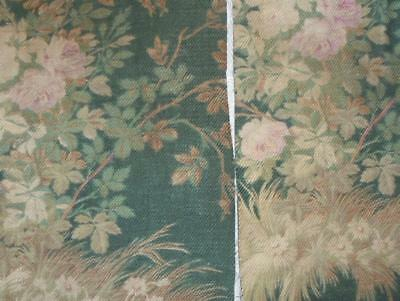 2 BEAUTIFUL FRAGMENTS 19th CENTURY FRENCH COTTON, FLOWERS, ROSES. REF PROJECTS